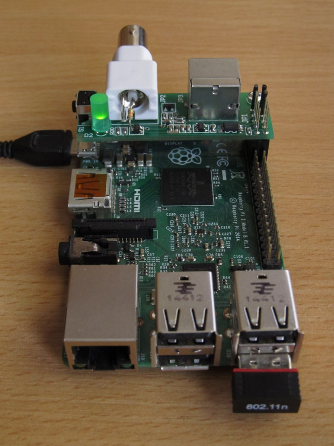 HomeLab-pH mounted on RPi - back view